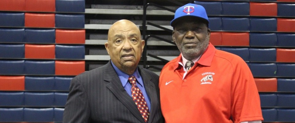 Thomas Billups, new Head Men's Basketball/Cross Country Coach  pictured with Athletic Director Dr. James C. Coleman